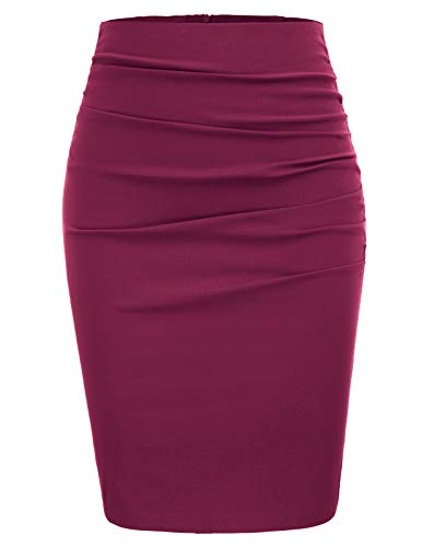 GRACE KARIN Mujer Falda de Tubo Corta Vino para Fiesta por la Rodilla Tamaño M CL866-4