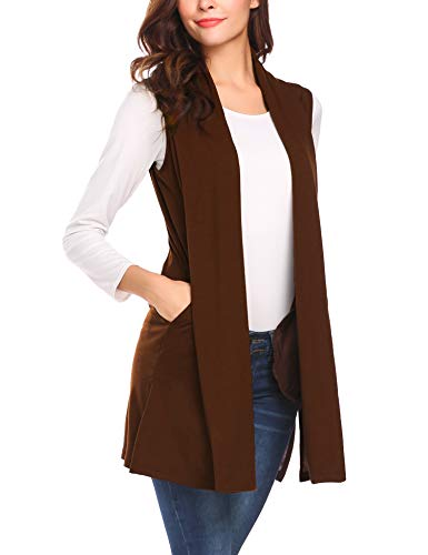 Beyove Long Vests to Wear with Leggings Two Sides Pockets Soft Waterfall Open Front Fashion Cardigan Vests Chocolate M