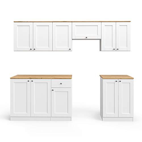 Vicco Küchenzeile INGA 240cm Landhaus Stil Einbauküche Komplettküche Küche Landhausküche inkl. Arbeitsplatte (Weiß, Ohne Herdumbauschrank)