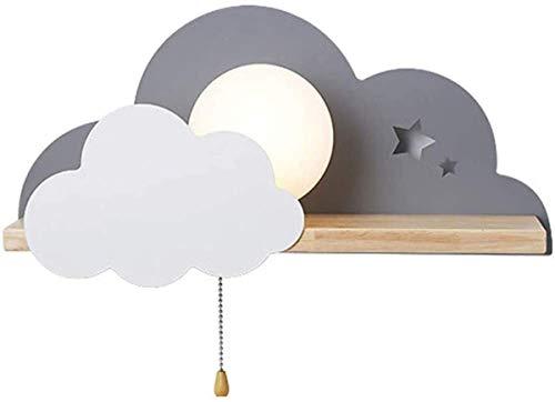 VOMI LED Wolke Wandleuchte Innen mit Zugschalter, Cartoon Wolkenform Holz Wandlampe Kinder Wandleselampe, Kinderzimmer Deko Sphärische Milchglas-Lampenschirm Wandbeleuchtung Schlafzimmer Studie, Grau