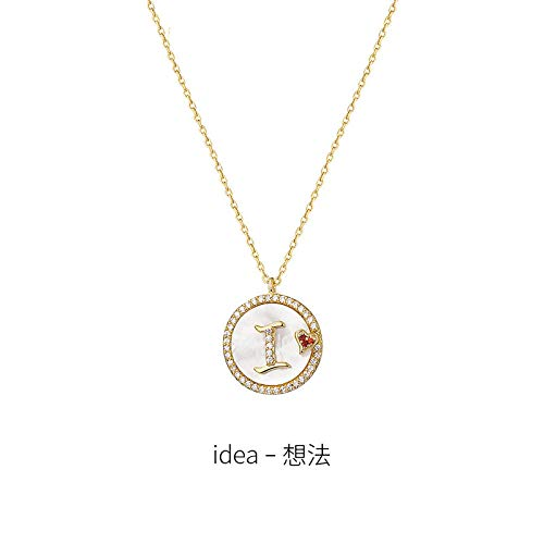 NUANYANG Fashion Letters Light Luxury H Necklace 925 Sterling Silver Niche Clavicle Chain ins Round Card Pendant Jewelry Perfect Lady Gift-I (idea-idea)