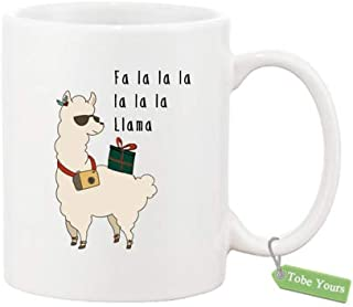 Gift Coffee Mug Cup - Fa La La La Llama Ceramic 11 OZ White Mug(Two Sides) - Funny Inspired & Motivational