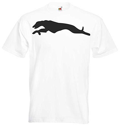 JINTORA Camiseta T-Shirt - Hombre Blanco - tamaño M -Carrera de Galgos - JDM/Die Cut - para Fiesta Carnaval Carnaval Laboral Deportes
