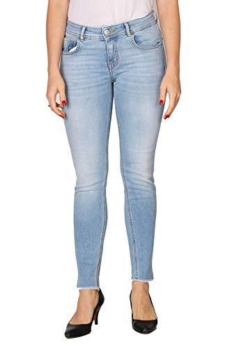 Haikure Jeans Donna Prince in Cotone, Due Tasche laterali, Due Tasche Posteriori, Chiusura Con Zip e bottone, passanti in vita, Strappi alle caviglie