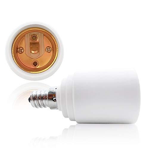 VARICART Base Transformador de Lámpara E14 a E27, Adaptador de Casquillo de Bombilla, Máxima Potencia de Vatios 500W Enchufe Resistente al Calor, No Inflamable Hasta 220 Grados (Pack de 2)