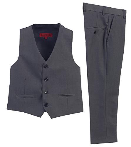 2 Piece Kids Boys Charcoal Vest and Pants Formal Set, 2T