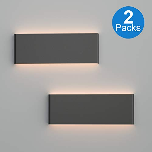 Ralbay 15.7in Black LED Vanity Light 2-Pack Modern Black Wall Light Fixtures 14W LED Up and Down Black Bathroom Wall Lighting Fixtures Warm White Light 3000K