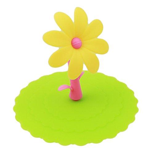LALANG 1 PCS Lebensmittel-Grad-Silikon-Schalen-Deckel, Sonnenblume-Becher-Abdeckung Anti-Staub, luftdichte Dichtung, Silikon-Getränk-Schalen-Deckel, heiße Schalen-Deckel, Grün