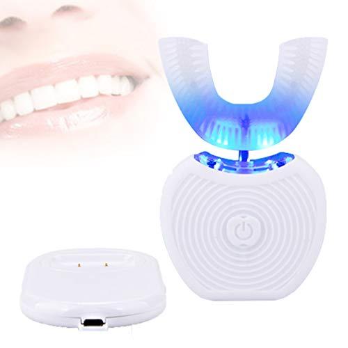 Elektrische Zahnbürste wiederaufladbar, U-Form Elektrische Zahnbürste saubere Zähne kaltes Licht automatische Hände frei Whitening 360 ° sauber