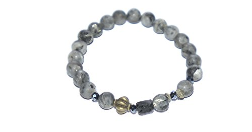 Love And Happiness Black Labrodite Gemstone Bead Bracelet With Lucky Brass Charm And Magical Black Tourmaline Stone