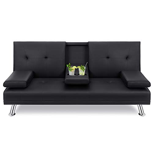 Walsunny Modern Faux Leather Couch, Convertible Futon Sofa Bed for Living Room with Armrest & Fold Up & Down Recliner Couch with Cup Holders - Black