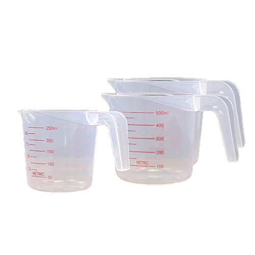 Upkoch - Juego de 3 vasos medidores de plástico (500 ml, 250 ml), con escala clara, para mezclar la pintura, tinte de resina epoxi contenedor de líquido de laboratorio, pvc, Image 1, 500ML 250ML