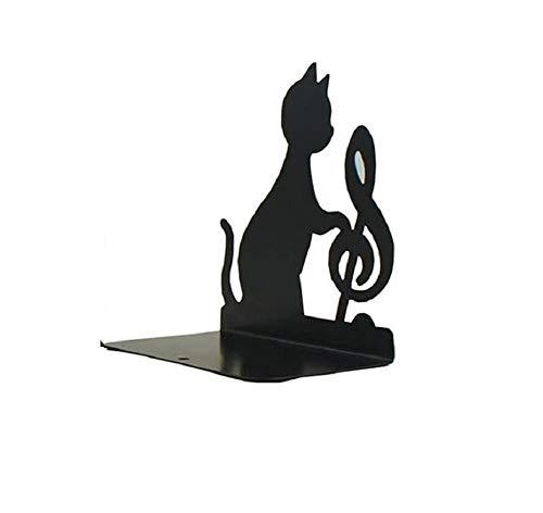 FülleMore 1xBuchstütze Metall Buchhalter Süße Katze Motiv rutschfest Bücher Ordner Organizer Künstlerisch Buchständer für Bücherregal Schreibtisch (Musik-Note)