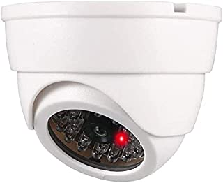 Tomvision Dummy Security Cameras, Fake Surveillance Camera Simulated CCTV Dome with Flashing Red Light Wireless Lens for H...