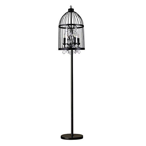 Lámpara de pie Lámpara de pie retro del diseño de la jaula del diseño del Birdcage del país, vidrio cristal cortado 4 luces Lámpara de pie del café de la sala del metal, H178CM × D35CM lámpara de lect