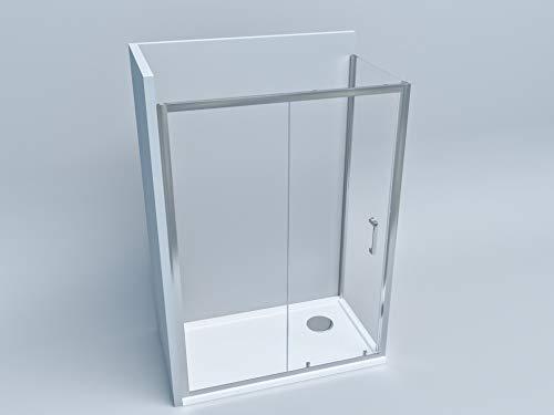 Box doccia a 2 lati porta scorrevole con lato fisso cabina profilo cromato cristallo trasparente 6 mm altezza 190 (70 x 170)