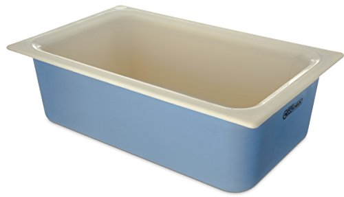 Carlisle CM1100C1402 Coldmaster CoolCheck 6' Deep Full-Size Insulated Cold Food Pan, 15 Quart, Color Changing, White/Blue