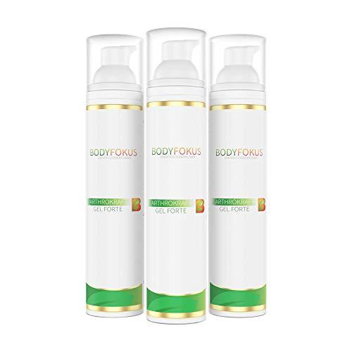 BodyFokus ArthroKraft Gel Forte | Veganes Gel für Gelenke und Muskeln mit Weihrauch, Calendula, Menthol, Kampfer & Wallwurz | 3 Spender