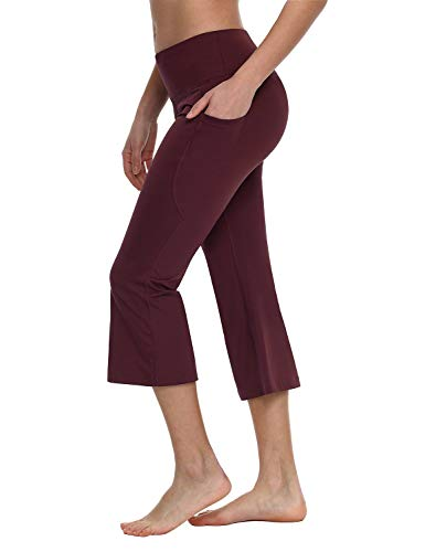 """BALEAF Yoga Workout Capris for Women Lounge Flare Pants Casual Work Bootcut with Side Pockets - 21"""" Ruby Wine L"""