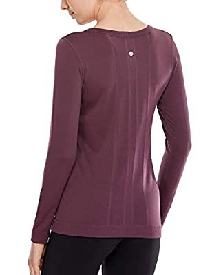 CRZ YOGA Women's Seamless Athletic Long Sleeves Sports Running Shirt Breathable Gym Workout Top Arctic Plum - Relaxed Fit X-Large