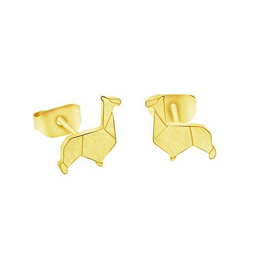 Lindo color dorado Origami Camel Pendientes pequeños para mujer Joyería para niños Pendientes de alpaca animal simple de acero inoxidable Brincos-Gold-color_China