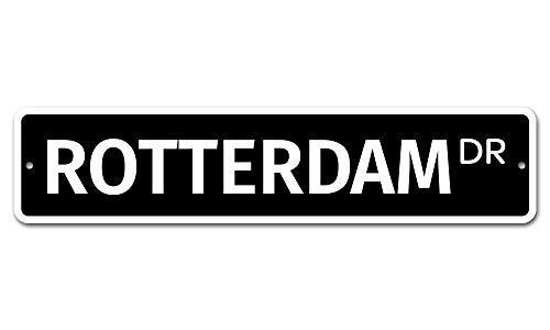 Jeartyca Rotterdam 10 x 45 Neuheit Straßenschild Aluminium Standort Schild Custom Metall Decor Metall Blechschilder Outdoor Schild Geburtstag Geschenk Lustiges Schild Wanddekoration