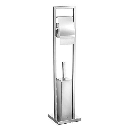 CARO-Möbel WC Garnitur Renate Toilettenpapierhalter Papierrollenhalter inklusive Toilettenbürste, Metallgestell verchromt
