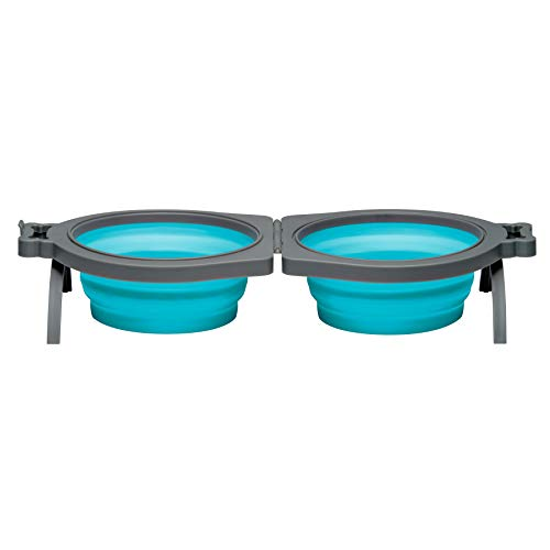 Loving Pets Bella Roma Travel Bowl Double Diner for Dogs, Medium, Blue