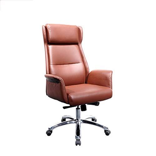 QFWM Silla de Escritorio de Oficina Sencilla Oficina Comercial Oficina Respaldo Silla Silla de Oficina Silla de Cuero cómodo para optimizar el Confort (Color : Brown, Size : 73 * 63 * 125cm)