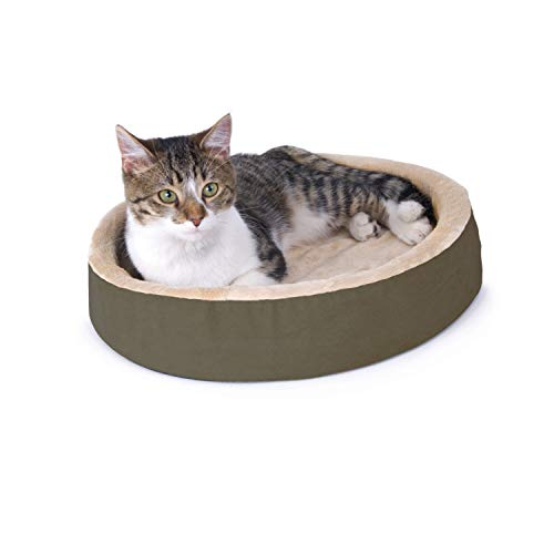 """K&H Pet Products 3701 Thermo-Kitty Cuddle Up Heated Pet Bed Mocha 16"""" 4W"""