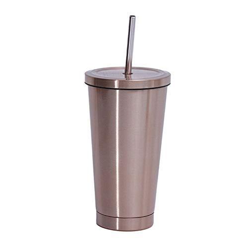 LHHNBY Taza de café de acero de 500 ml con tapa Tazas de cerveza para taza de té de vacío de metal taza de bebida de paja tazas de viaje
