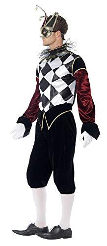Smiffys Costume Arlecchino Gotico Veneziano, comprende Top, Pantaloni e Collare