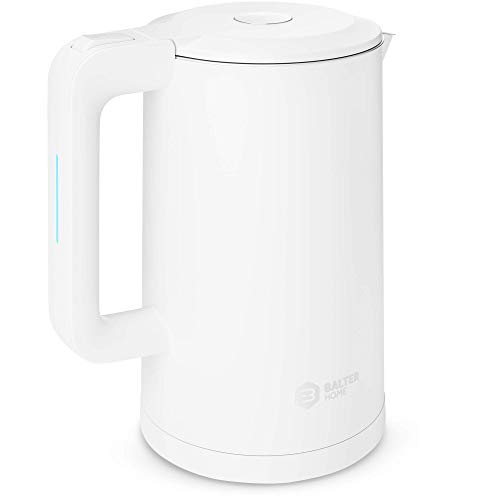 Balter Wasserkocher Edelstahl WK-4, 1,7 Liter, elektrischer Wasserkocher, Doppelwand Design, BPA frei, LED, kabellos, Teekocher Kompakt, leise, Weiß
