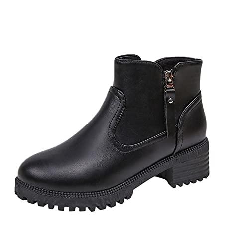 Vexiangni Zapatos de mujer con puntera redonda y doble cremallera lateral gruesa. Botines de verano para mujer, botas de equitación de piel sintética, Negro , 39 EU