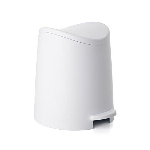 TATAY 4470001 - 3L Pequeño Cubo de baño con Apertura a Pedal, Blanco, 19x22.1x0.41 cm
