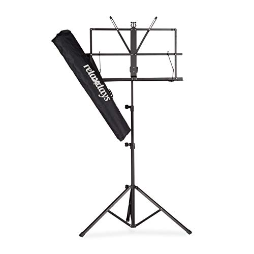 Relaxdays, Schwarz Notenständer mit Tasche, Notenpult, Orchesterpult, Notenablage, klappbar und leicht, 60-130 cm, Standard