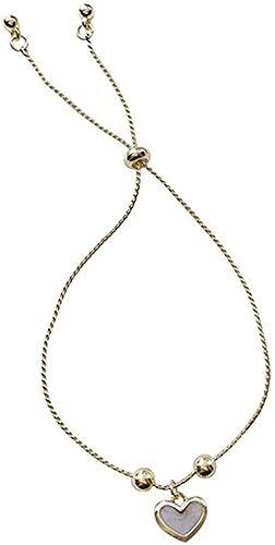 LKLFC Collar Mujer Collar Hombre Collar Pequeña niña Linda Pulsera Temperamento Simple Pulsera de Perlas melocotón Colgante Pulsera Pulsera Estudiante Regalo niñas niños Collar
