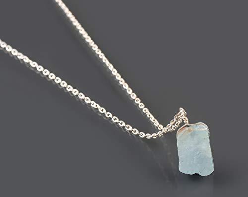 Ruwe Aquamarijn Natuurlijke Edelsteen Kristal Hanger Ketting Dainty Handgemaakte Sieraden 925 Sterling Zilveren Ketting 18