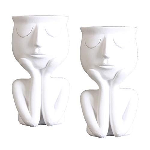 Amuzocity 2x Human Face Sculpture Table Flower Pot Plant Planter Pot
