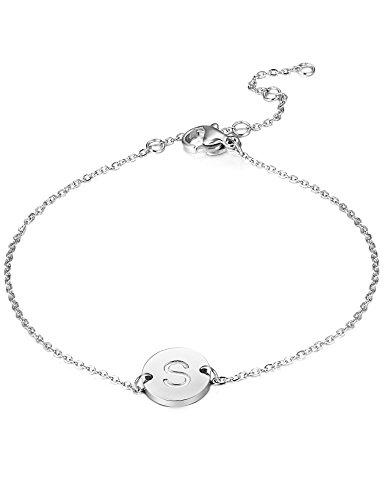 BESTEEL Edelstahl Armbänder für Damen Mädchen Initiale Armband Armkette Buchstaben S 16.5+5CM