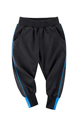 Kinder Jungen Jogginghose Outdoor Freizeithosen Sweathosen Baumwolle Sporthose (Schwarz, 110-115)