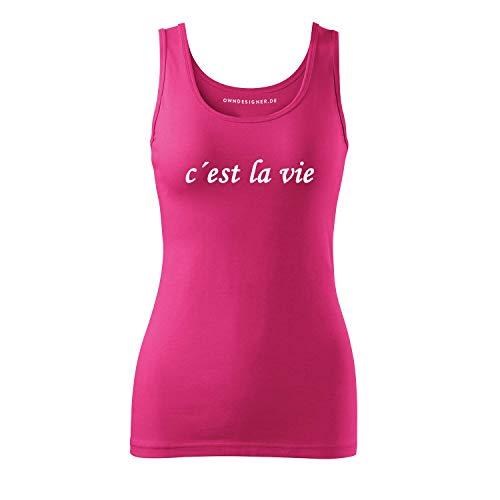 Cooles Sommer Freizeit Frauen Tshirt Bluse c´est la Vie Bedruckt Short Sleeve Top Kurzarm (3-Triumph-Pink-S)