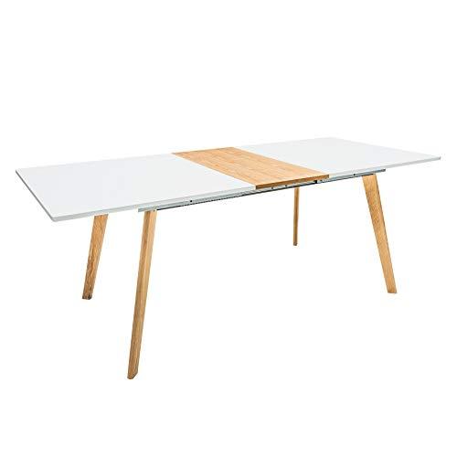 Riess Ambiente Moderner Esstisch Scandinavia 160-200cm edelmatt weiß Eiche verlängerbar Tisch Konferenztisch