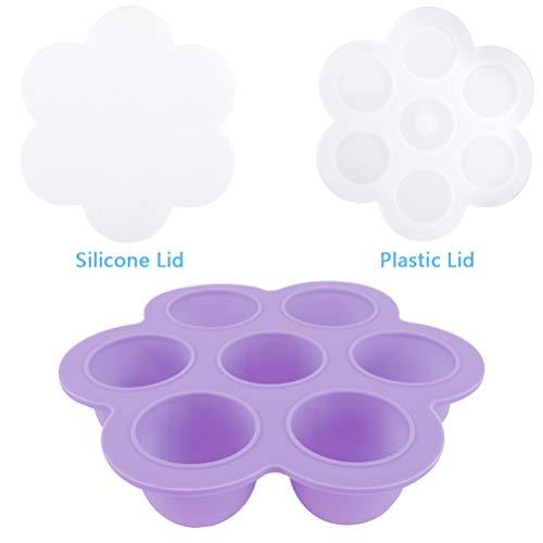 Zeattain Contenedor de Silicona para Bebés de 7 Pocillos, Silicona de Grado Alimenticio, sin BPA, Fácil de Limpiar, Resistente a la Presión, Resistente al Calor(1 Pc-Morado)
