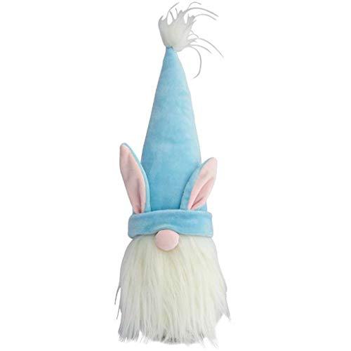 XINGYUE Decoración de gnomo de conejo de Pascua, conejo de Pascua, gnomo de felpa, muñeca sin rostro, nórdico, escandinavo, tomte, elfo, decoración de la primavera, vacaciones