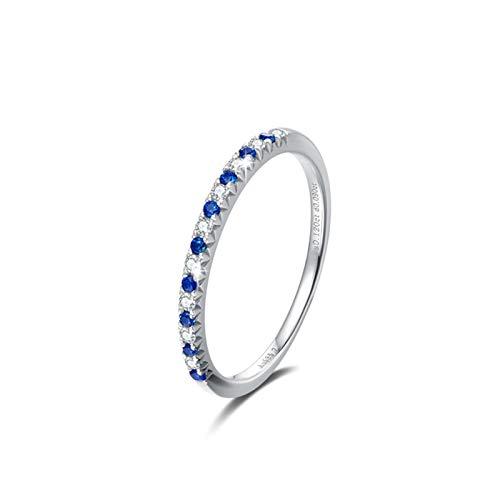 Aeici Ring Oro amarillo 14k, Anillo Dorado Mujer Zafiro azul Diamante 0.216ct, Redonda, Talla 12
