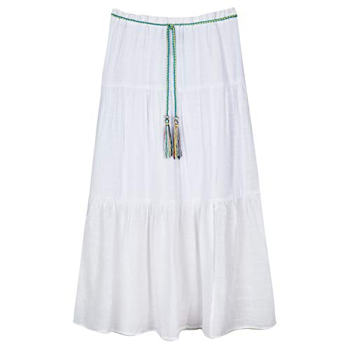 Amy Byer Girls' Tiered Maxi Skirt, White, Large