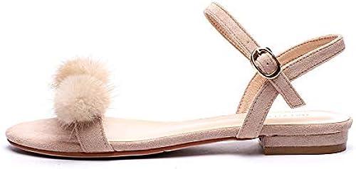 MRXILX Sandales,Mot De De Mode Ball Boucle Flat Sandals, Summer Mode Flip-Flops  profitez d'une réduction de 30 à 50%