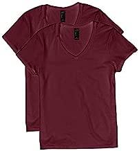 Hanes Women's Short Sleeve V-Neck t-Shirt, Maroon, 2X Large
