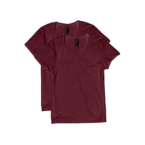 Hanes Women's Short Sleeve V-Neck t-Shirt, Maroon, Large
